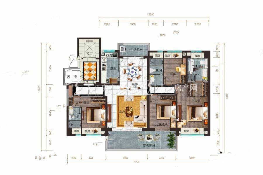 碧桂园公园上城YJ170户型/5室2厅3卫/建筑面积:约177m²