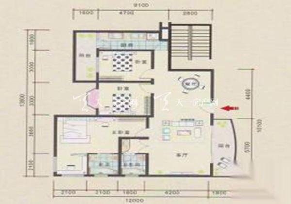 永欣世代宝第A户型居室:三房两厅两卫建筑面积:134㎡