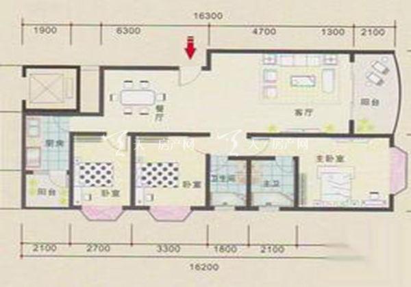 永欣世代宝第B户型居室:三房两厅两卫建筑面积:141㎡