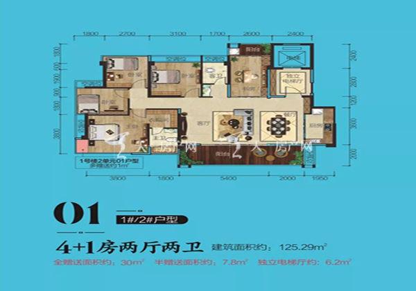 奥林观澜湖1#2# 01户型居室:5室2厅2卫1厨建面125.29㎡
