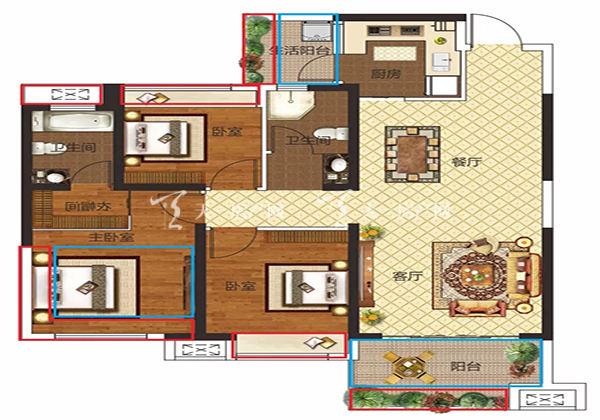 金钟美墅湾A户型居室:3室2厅2卫1厨建筑面积:103.00㎡