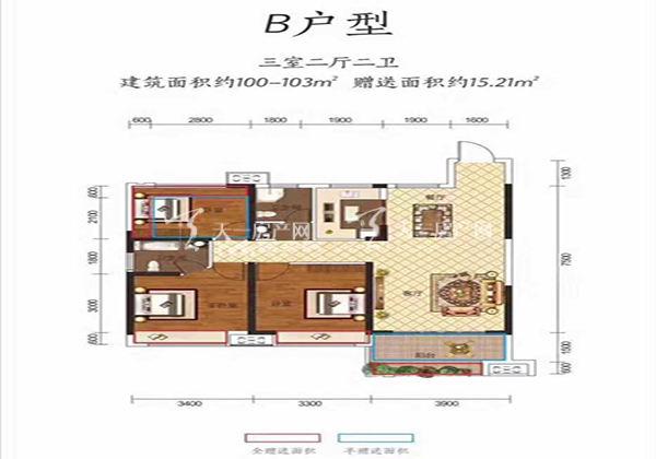 金钟美墅湾B户型居室:3室2厅2卫1厨建筑面积:103.00㎡