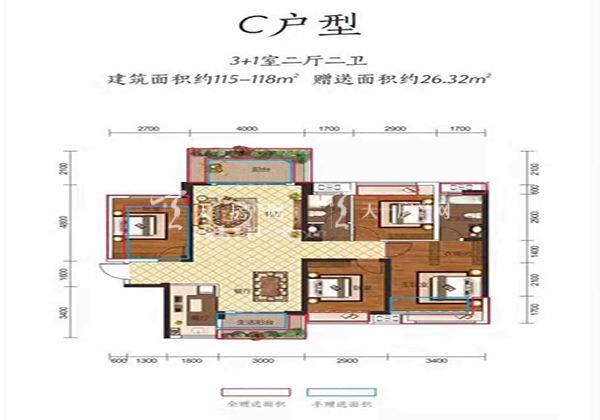 金钟美墅湾C户型居室:4室2厅2卫1厨建筑面积:118.00㎡