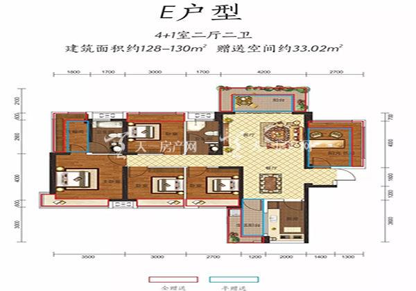 金钟美墅湾E户型居室:5室2厅2卫1厨建筑面积:130.00㎡