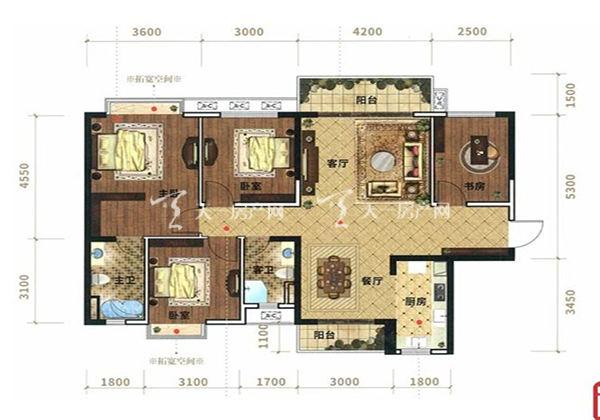 光大悦湖云邸A1户型, 3室2厅2卫1厨, 建筑面积约127.73㎡