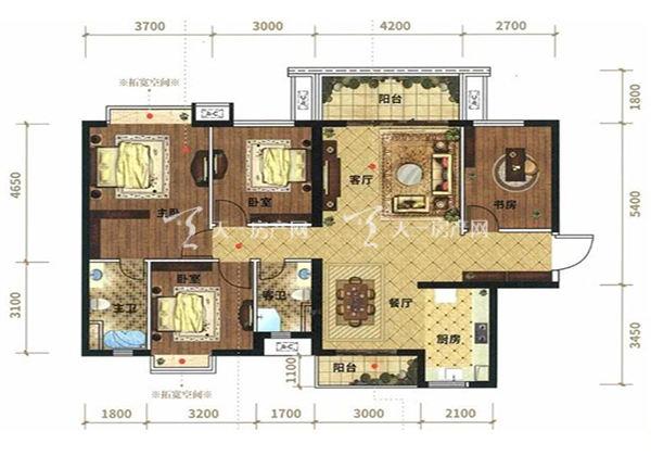 光大悦湖云邸A2户型, 3室2厅2卫1厨, 建筑面积约139.71㎡