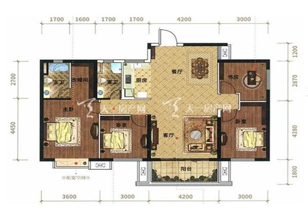 光大悦湖云邸B户型, 4室2厅2卫1厨, 建筑面积约139.97㎡
