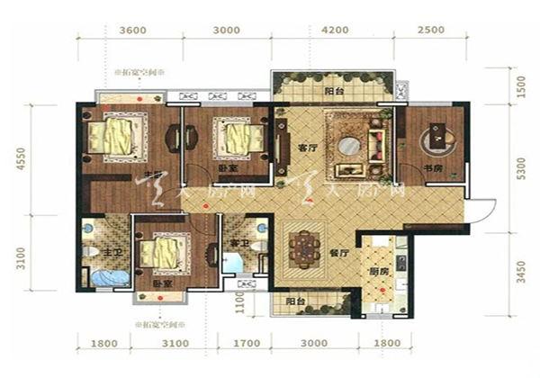 光大悦湖云邸C户型, 3室2厅2卫1厨, 建筑面积约109.58㎡
