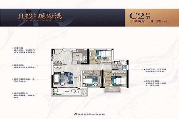 北投观海湾C2户型 三房两厅一卫 建筑面积82㎡.jpg