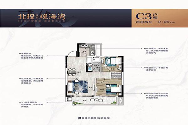 北投观海湾C3户型 两房两厅一卫 建筑面积70㎡.jpg