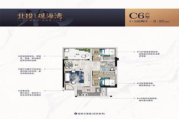 北投观海湾C6户型 1+1房两厅一卫 建筑面积58㎡.jpg