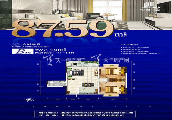 听海一品富贵轩B户型:2室2厅1卫1阳台  约87.59m²