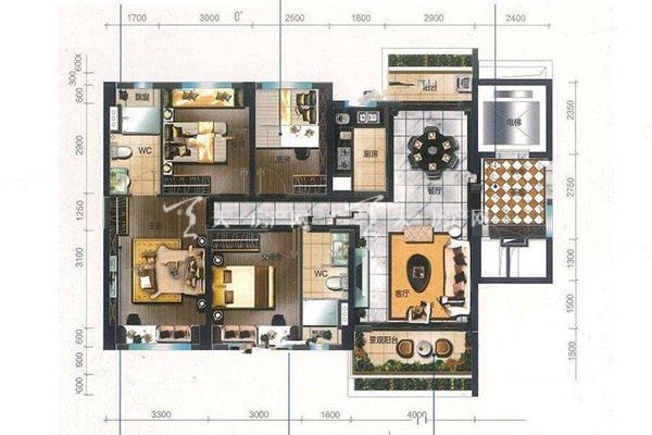 碧桂园盛世名门0103户型4室2厅2卫建筑面积约119平米