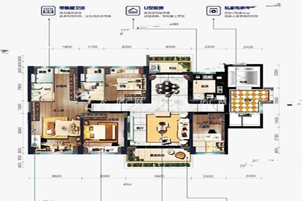 碧桂园盛世名门爱马仕 户型4室2厅2卫建筑面积:约139平米