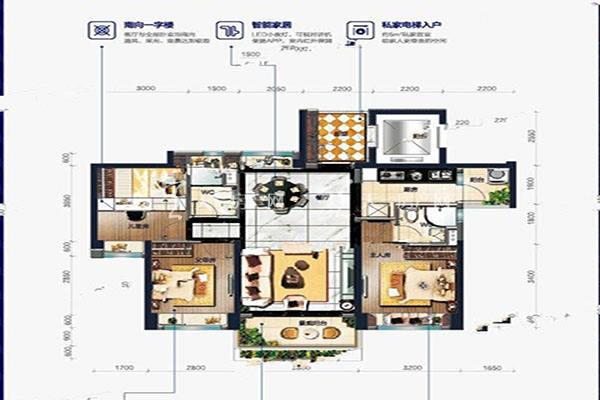 碧桂园盛世名门秋收 户型3室2厅2卫建筑面积:约107平米