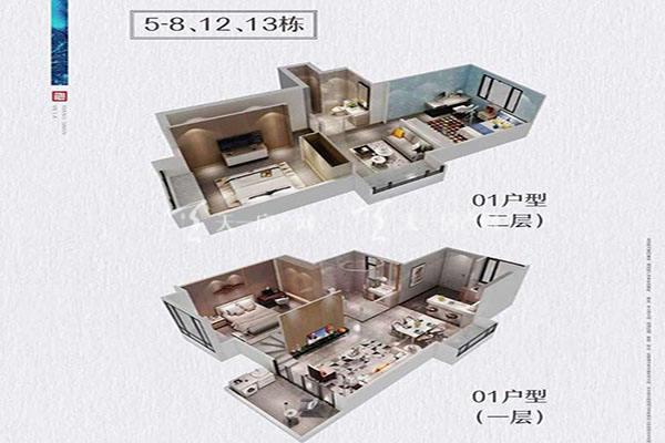 方直香山墅5-8 12、13栋01户型4室2厅1卫建筑面积:约86平米