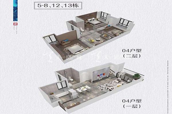 方直香山墅5-8 1213栋04户型4室2厅1卫建筑面积:约86平米