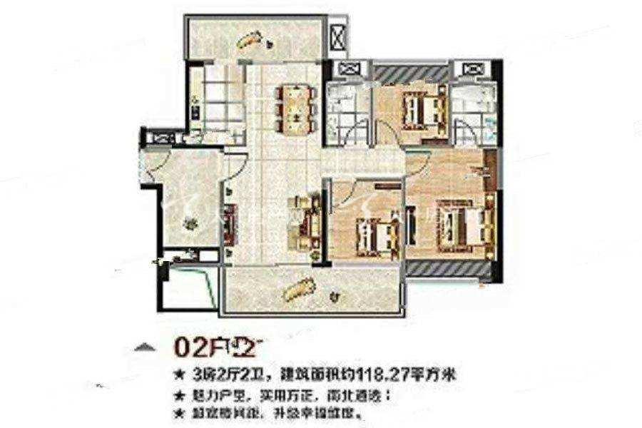 海尚绿洲56栋02户型3室2厅2卫建筑面积:约118平米