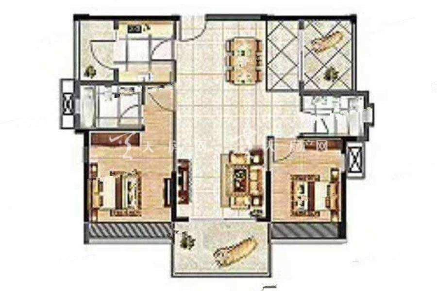 海尚绿洲56栋03户型2室2厅2卫建筑面积:约103平米