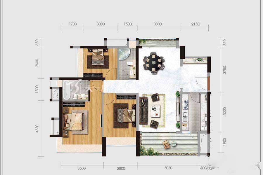 华盈四季蓝天1、3、4幢03户型3室2厅2卫建筑面积:约113平米