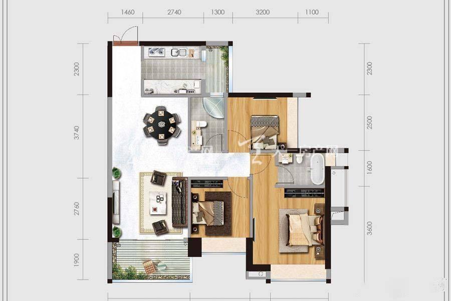 华盈四季蓝天1-4幢01、02户型3室2卫建筑面积:约103平米