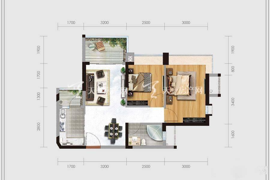 华盈四季蓝天1-4幢04户型2室2厅1卫建筑面积:约71平米