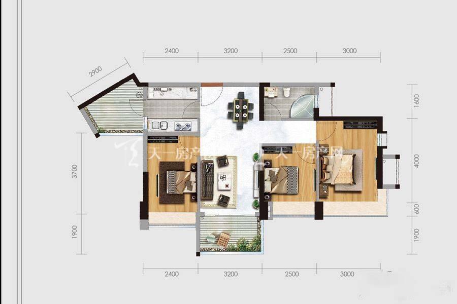 华盈四季蓝天1-4幢05户型3室2厅1卫建筑面积:约87平米