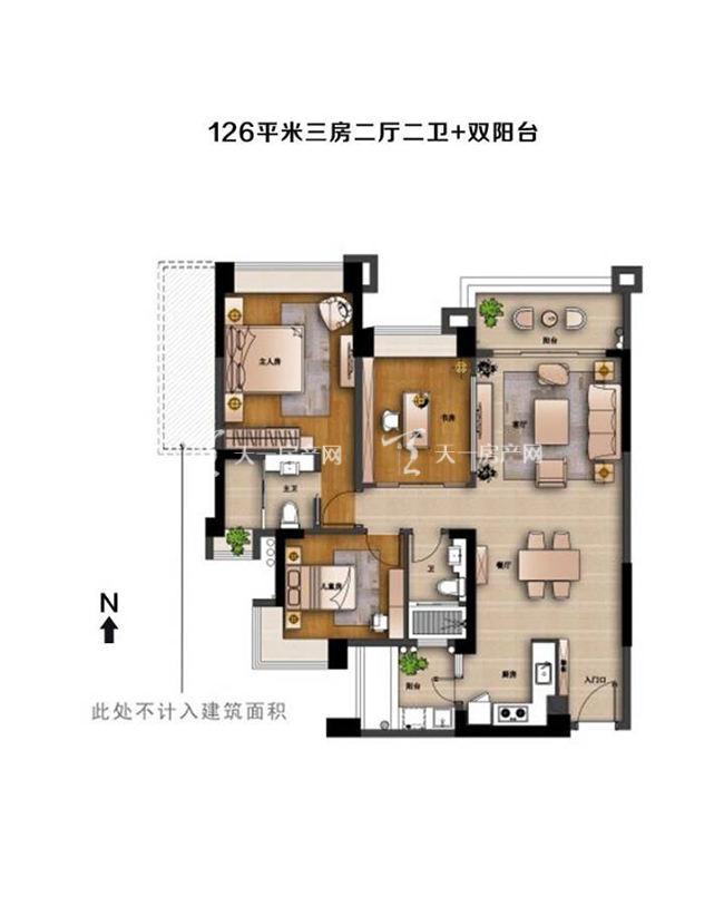 中澳滨河湾中澳滨河湾户型图 3室2厅2卫建筑面积:约126平米