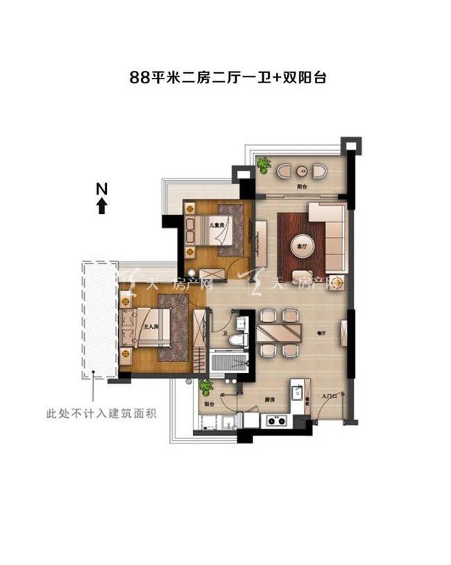 中澳滨河湾中澳滨河湾户型图2室2厅1卫建筑面积:约88平米