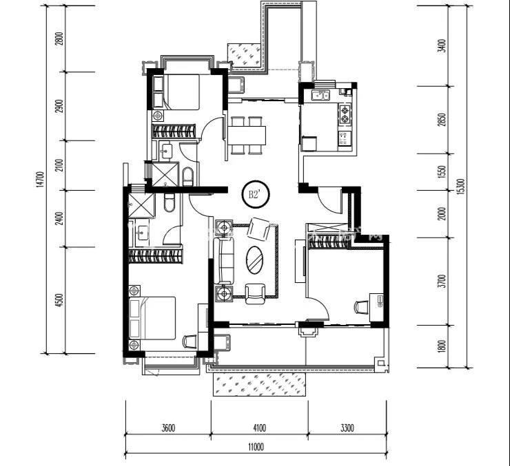 昆明恒大养生谷三室两厅两卫125.64㎡