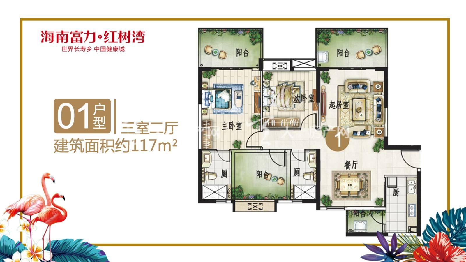 富力红树湾01户型三室两厅建筑面积117㎡