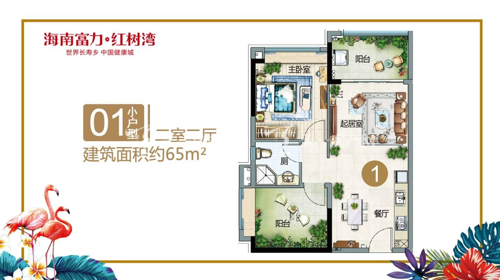 富力红树湾01小户型两室两厅建筑面积65㎡