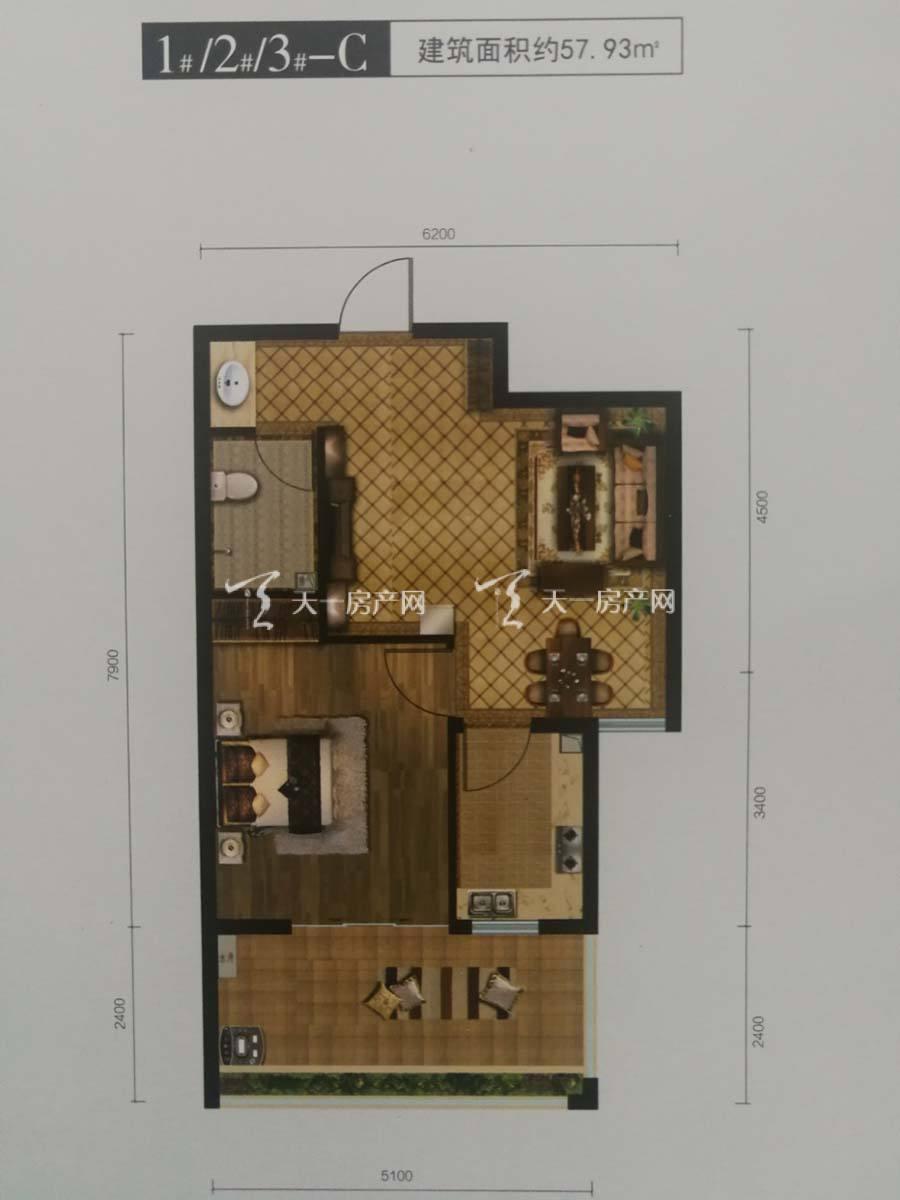 玖沐温泉谷C户型/一室一厅一厨一卫一阳台/建筑面积:57.93m²