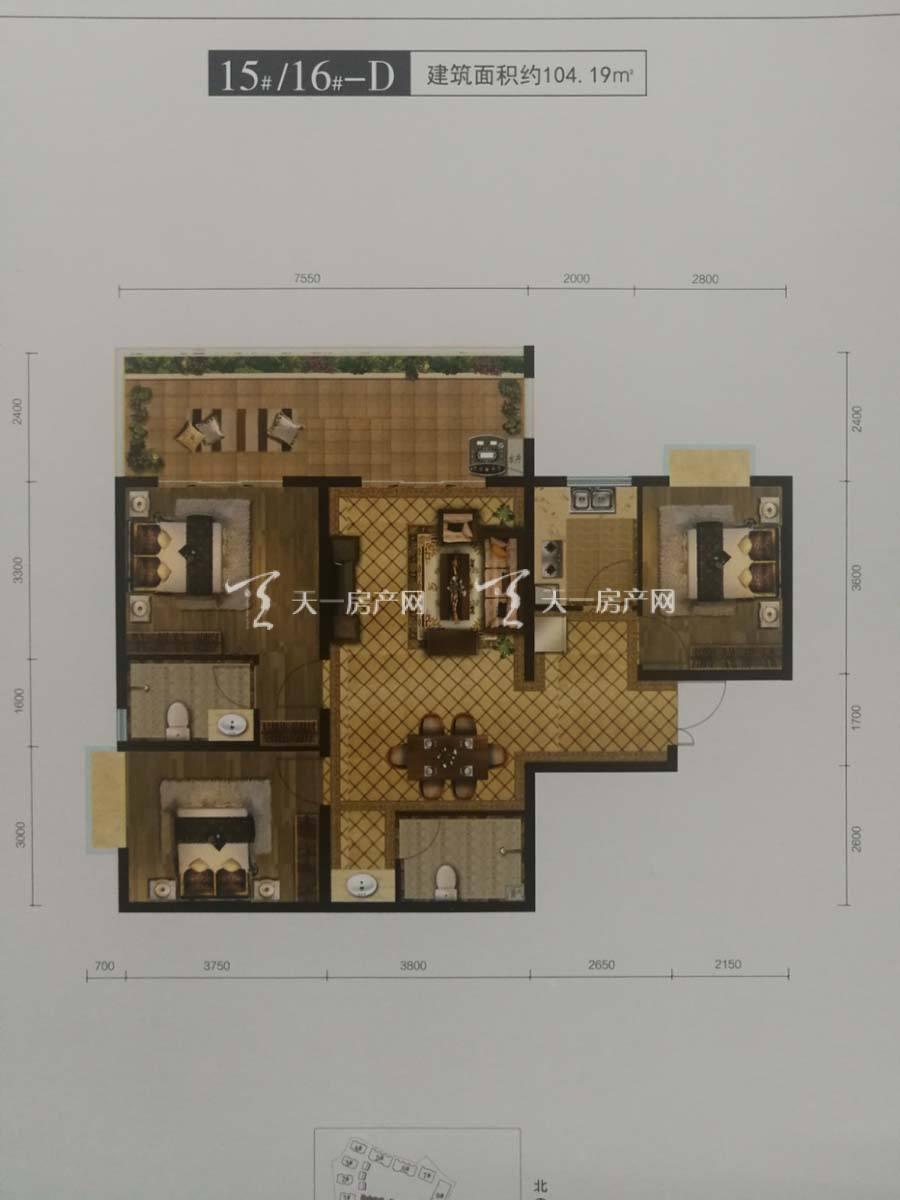 玖沐温泉谷D户型/三房二厅一厨二卫+7.5米大阳台/建筑面积:104.19m²