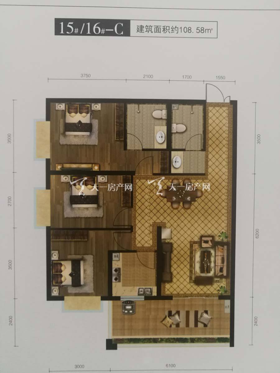 玖沐温泉谷C1户型/三房二厅一厨二卫+6.1米大阳台/建筑面积:108.58m²