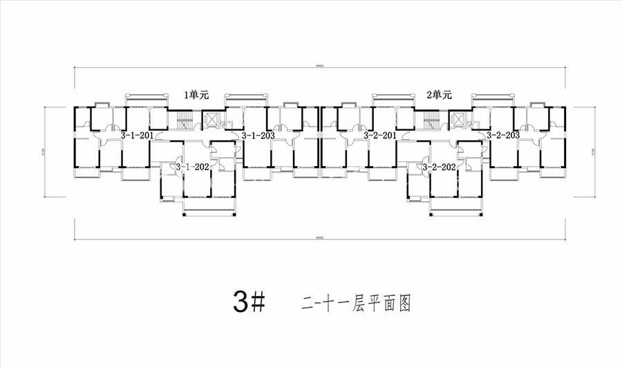 凯旋景园3#/2-11层平面图