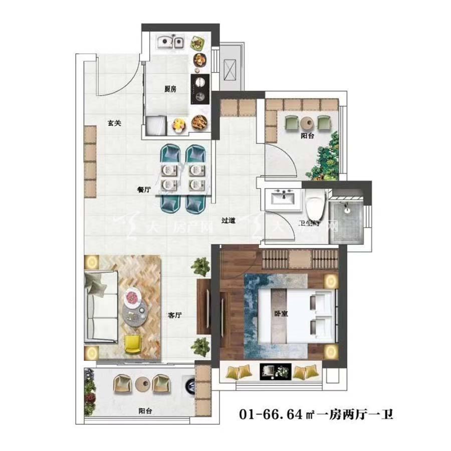 金辉优步花园01.1室2厅1卫/建筑面积:66.64m²