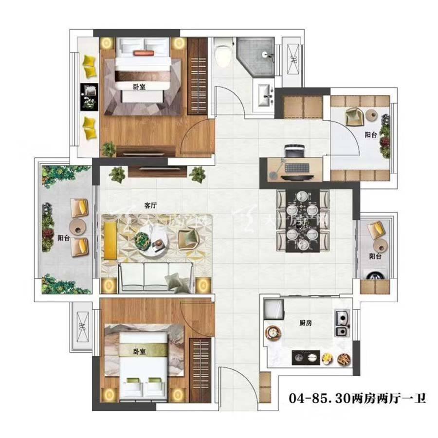 金辉优步花园04.2室2厅1卫/建筑面积:85.30m²