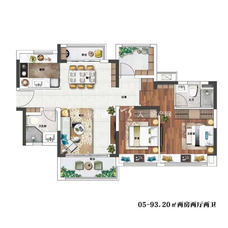 金辉优步花园05.2室2厅2卫/建筑面积:93.20m²