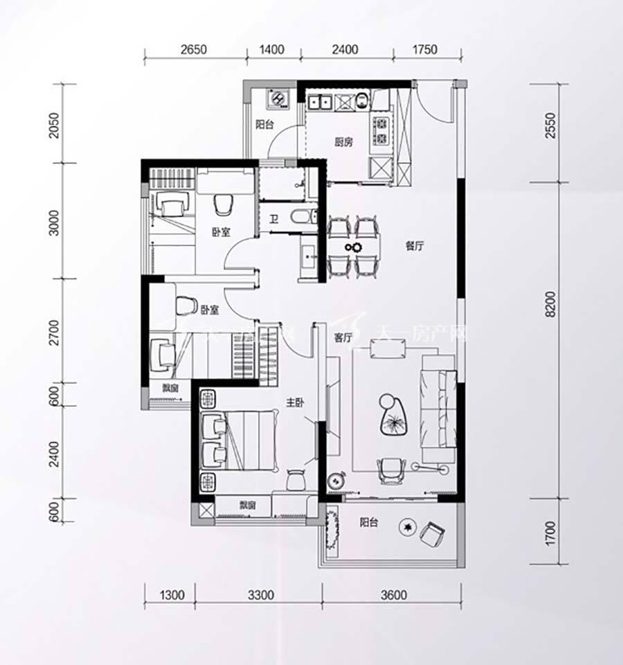 碧桂园星钻花园3房2厅1卫/建筑面积:约96㎡
