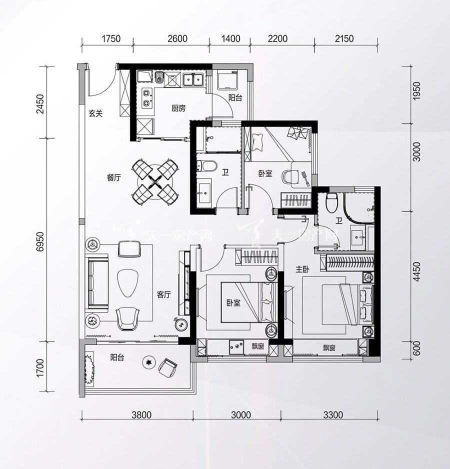 碧桂园星钻花园3房2厅2卫/建筑面积:约105㎡