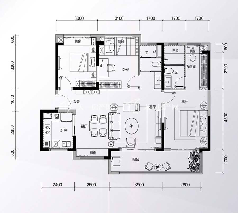 碧桂园星钻花园3房2厅2卫/建筑面积:约113㎡