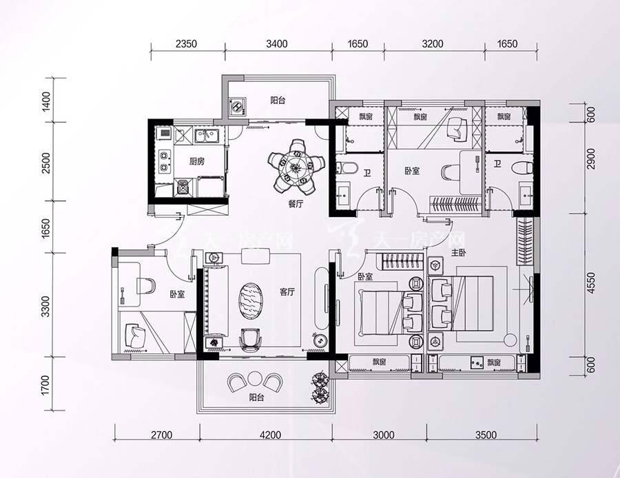 碧桂园星钻花园4房2厅2卫/建筑面积:约127㎡
