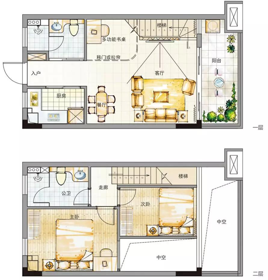衍宏春天A户型两室一厅两卫一厨一阳建筑面积约48-52㎡