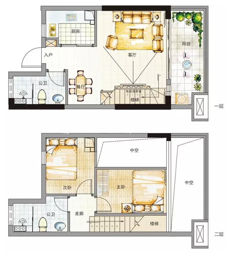 衍宏春天B户型两室一厅两卫一厨一阳建筑面积约42㎡