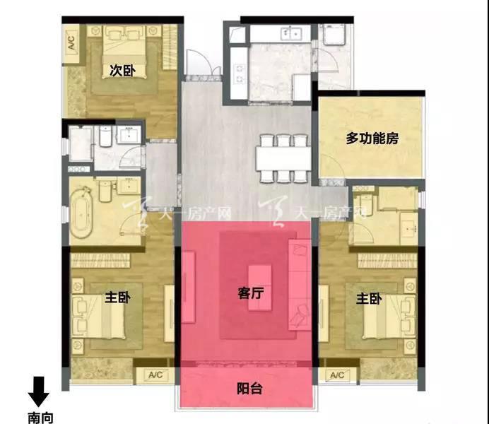 阅海156㎡ 4室2厅3卫