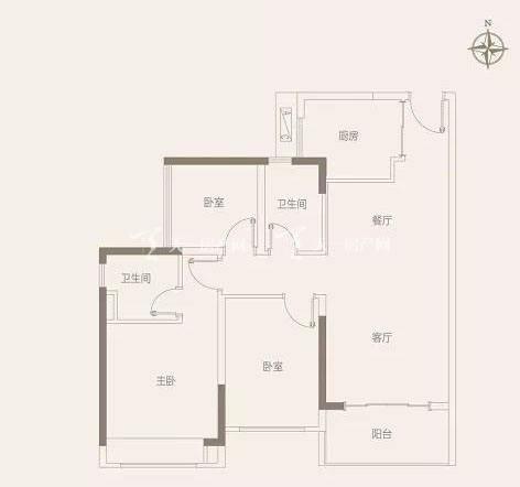 中国铁建领秀公馆A户型 90㎡ 3室2厅2卫