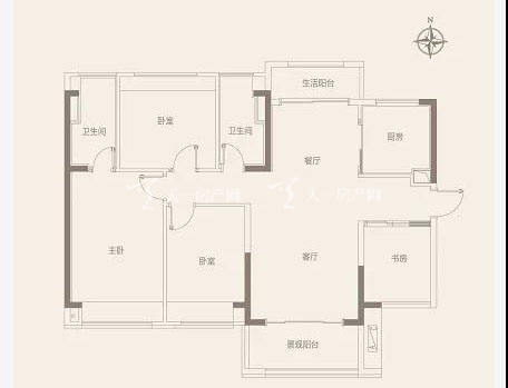 中国铁建领秀公馆C户型 118㎡ 4室2厅2卫1厨2阳