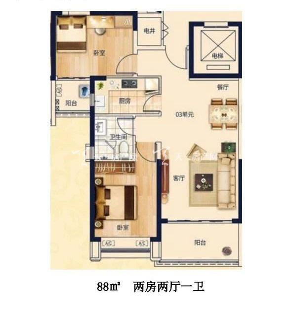 合生君景湾88㎡ 2室2厅1卫