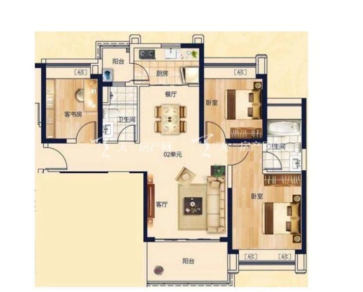 合生君景湾106㎡ 3室2厅2卫